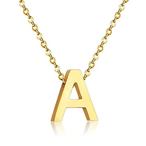 Joyería Delicada Estilo clásico Acero Inoxidable 26 Letras Collar Inicial Collar con Colgante de Alfabeto de Color Dorado y Plateado