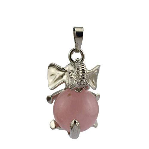 Purmy Mujer Collares Collares Hombre Cuarzo Rosa Colgante Cristal Collares Quartz Piedra curativa Chakra Crystals,Elefante con Bola de Cristal,Las Mejores Joyas de Cristal para Hombres de Mujeres