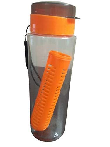 Fruit Water Bottle Infuser with Insulated Sleeve & :: Large Cage for More Flavor & Pulp Strainer :: Delicious, Healthy Way to Up Your Water Intake :: with Strainer