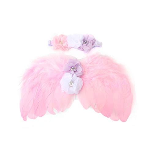 Amosfun Baby Veer Engel Vleugels Strass Bloem Hoofdband Set Kostuum Accessoires foto Props Pak voor Pasgeboren (roze)