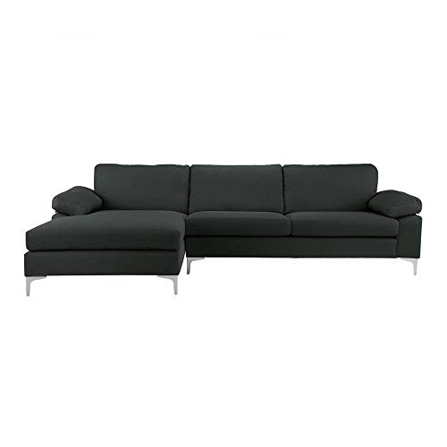 Casa Andrea Milano llc Modern Large Fabric Sectional Sofa, L-Shape Couch with Extra Wide Chaise Lounge, Slate