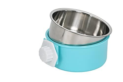 S&L ペット食器 ハンガーボウル 餌入れ 水入れ ケージ用 固定 ステンレス 取り外し可能 犬 猫 うさぎ 小動物用 (ブルー)