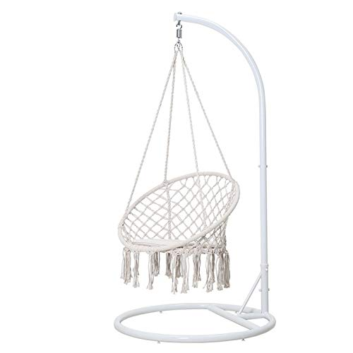 Yamyannie Swing Chair Nordic Indoor Balcony Home Swing Cradle Girl Tassel Hanging Chair Bedroom Rocking Chair for Garden (Color : White, Size : 100x191cm)