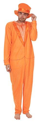 Dumb and Dumber Orange Tuxedo One Piece Pajama with Top Hat (Adult Medium)
