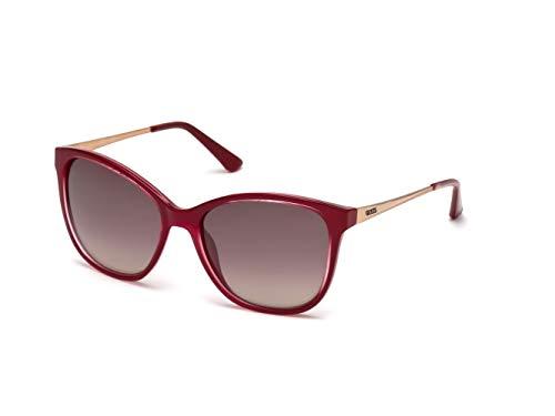 Guess GU 7502 Occhiali da Sole, Rosso (Shiny Fuxia/Gradient Brown), 57 Donna