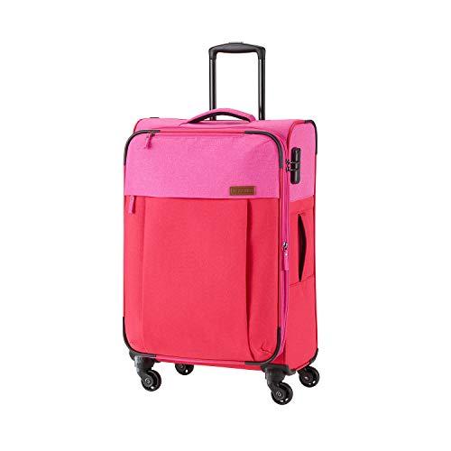 Travelite Leichtes lässiges  Surferlook Trolley Koffer 67 cm, 59 L, Rot/Pink