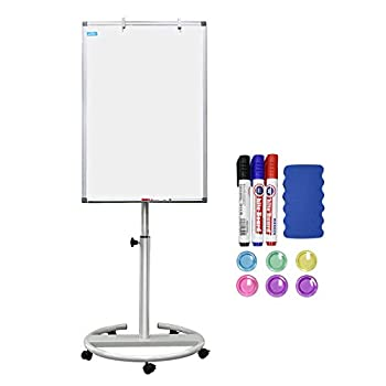 White Board Magnetic Mobile Dry Erase Board Easel 36 x 24 inch Wheels Movable Stand Whiteboard with Flipchart Hook Height Adjustable White
