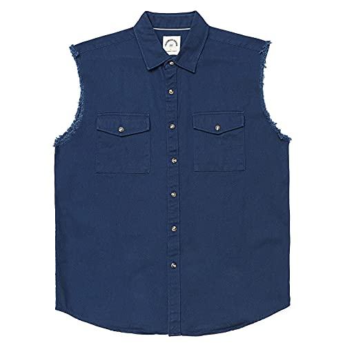 Chaleco de mezclilla sin mangas para hombre con botones, Azul marino/flor y brillo, XX-Large
