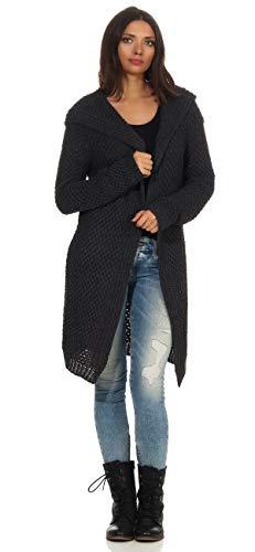 Mississhop Damen Lange Strickjacke Cardigan mit besonderem Strick-Muster mit Kapuze 3013 Graphit