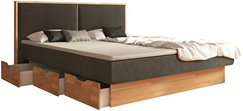 SuMa - Wasserbett 180x220 dual mit Topper Schubkastenbett mit 6 Fächern Kernbuche und Kopfteil Duetto, Farbe Carbon 180x220 cm