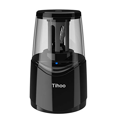 Tihoo Rechargeable Electric Pencil Sharpener with Durable Helical Blade to Fast Sharpen, Heavy Duty Pencil Sharpener for No.2 & Colored 6-8mm Pencils for School Office Home (Black)