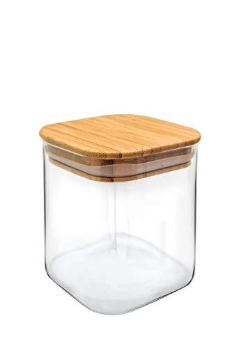 NERTHUS FIH 779-Tarro de Cristal con Tapa de Bambú, 800 ml