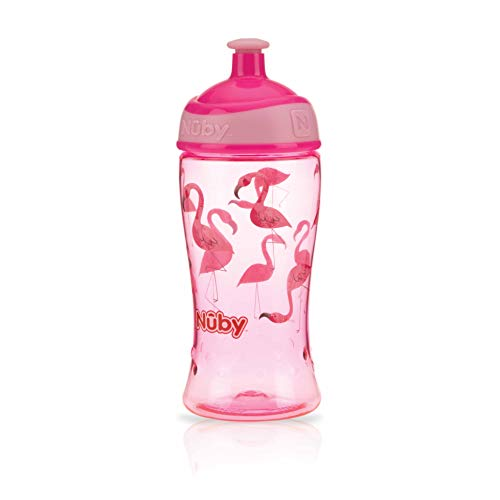 Nuby Pop-Up - Vaso de tritán (360 ml, 3 años), color rosa