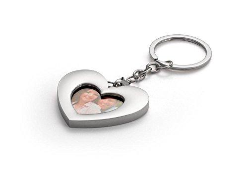 Zilverstad sleutelring hart met fotolijst, zinklegering, zilverkleurig, 0,5 x 5,7 x 10,8 cm