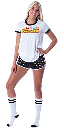 Women's Pac-Man Ringer T-shirt, Shorts and Slipper Socks Pajama Set, M, L, XL