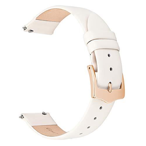 EACHE Correas de Reloj de Cuero Fino para Mujer Correas de Reloj de Cuero Blanco Crema 14 mm con Hebilla de Oro Rosa