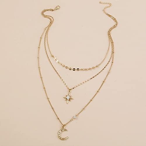 DAJIA Moda imitación Piedra Natural Colgante Collar de múltiples Capas Exquisito Cristal Mariposa clavícula Cadena feminidad joyería