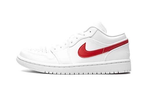 Nike Air Jordan 1 Low, Sneaker Donna, Blanco/University Red, 36.5 EU