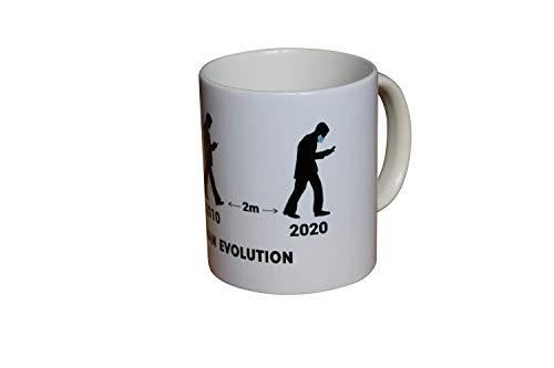 Recreatio Human Evolution Tasse | Corona Virus Kaffeetasse/Covid-19 Kaffeebecher | 340 ml