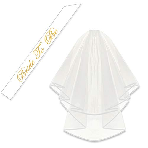 KUNG FU PARTY Double Ribbon Edge Center, Cascade Bridal Wedding Veil with Comb and Bride to Be Satin Sash, Bachelorette Party Decorations Supplies, White
