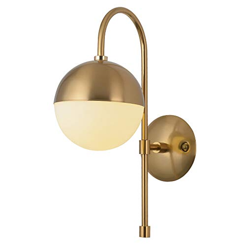 AZPINGPAN Lámparas de Pared Creativas nórdicas, lámparas de Pared de Pantalla de Cristal Redondas Personalizadas para lámparas de Noche de Dormitorio, Arte de Hierro Minimalista Moderno E27