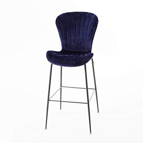 Amadeus - Chaise de Bar Coquillage en Velours Bleu (Lot de 2)