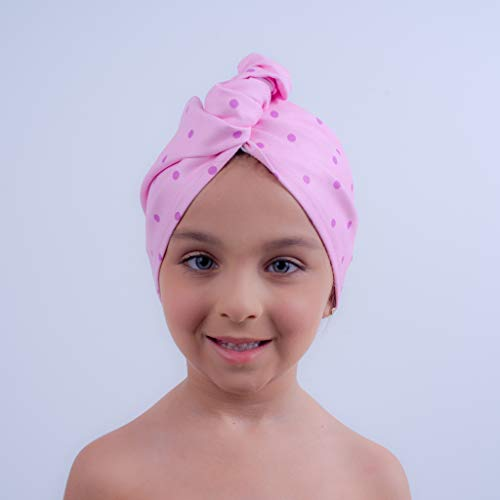 AqkuaTwist Pink Hair Towel & Turban. Ultra Absorbent Hair Towel Anti Freeze Capabilities Light Weight Made on Sport N Care Micro Fiber Tech Compact in Fashionable Design Easy to Use. Made in USA