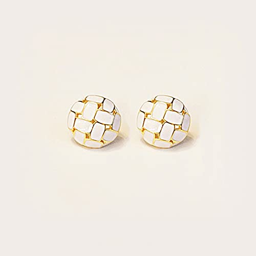 OMING Pendientes Pendientes de aro de Las Mujeres chapadas en Oro de 18k 16mm Colorido Pendientes Lindos de Esmalte Lindo joyería Pendientes para Mujer