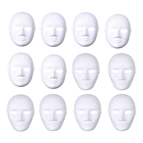BESTOYARD 12pcs Full Face Mask Halloween Mask White DIY Mask Dance Cosplay Masquerade Party Mask (6pcs Male and 6pcs Female)