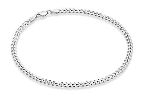 Miabella Solid 925 Sterling Silver Italian 3.5mm Diamond Cut Cuban Link Curb Chain Anklet for Women, 9, 10 Inch Made in Italy (10, Sterling Silver)