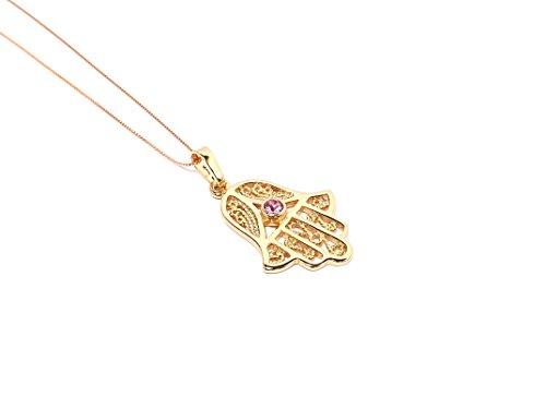 Remi Bijou - Wunderschöne Halskette Anhänger - Fatimas Hand Hamsa - Gold Farbe Pink, Strass
