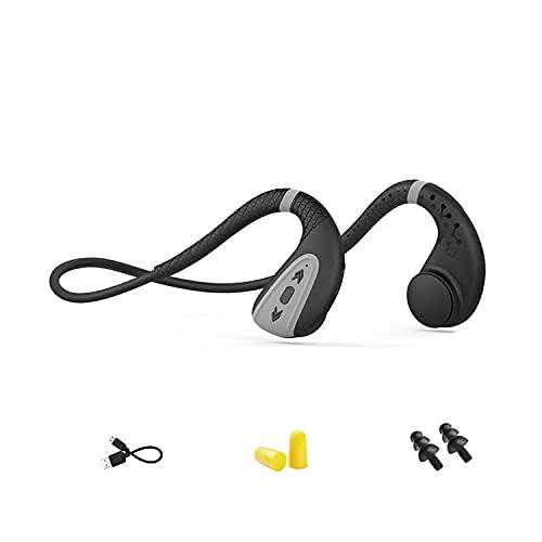 Easycosy Knochenschall Schwimm Kopfhörer Bluetooth Bone Conduction IPX8 Wasserdicht mit Mikrofon Open Ear Kabellos MP3 Musik Player 8G Speicher Staubdicht für Sport Radfahren Joggen