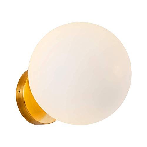 Aplique de Pared Interior de Hierro Forjado Dorado Globo Redondo Pantalla de Vidrio Moderno Simple E27 Lámpara de Pared pequeña de una Cabeza para Dormitorio Lámpara de Noche Sala de Estar Pasillo de