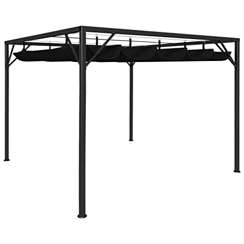 Goliraya Garden Gazebo with Retractable Roof Canopy Anti-UV PA Coating Roof Stable Steel Frame for Outdoor Activities Family Party 3x3 m Anthracite