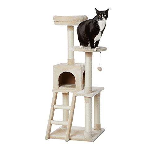 Amazon Basics - Albero per gatti XL con caverna e scala, 48,2 x 127 x 48,2 cm, beige