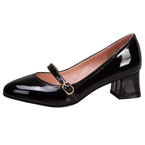 CularAcci Damen Pumps Mid Blockabsatz Pumps Einfach Buro Arbeit Schuhe Heels Kleid Pumps Black Gr 32 Asiatisch