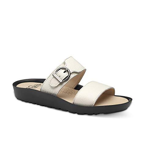 Feliz Caminar - Sandalia Piel Antideslizantes y Cómodas para Hombre y Mujer | Frescas para Vestir en Epocas de Calor Verano Primavera | Modelo Sana 18302 | Talla 38 | Color Blanco
