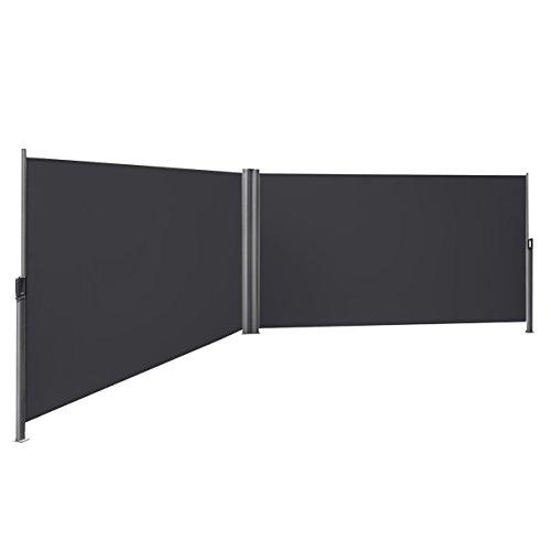 SONGMICS Doppelseitenmarkise, ausziehbar, 1,6 x 6 m (H x L), ausziehbare Seitenmarkise, Sichtschutz, Sonnenschutz, Seitenrollo, für Balkon, Terrasse und Garten, rauchgrau GSA320G