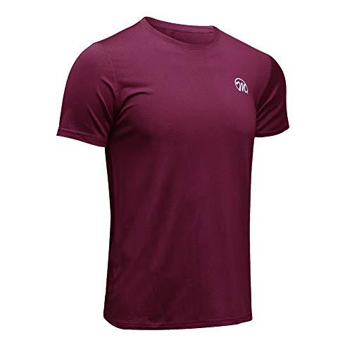 MEETWEE Sportshirt Herren, Laufshirt Kurzarm MeshFunktionsshirtAtmungsaktivKurzarmshirt Sports Shirt Trainingsshirtfür Männer, Rot, XXL