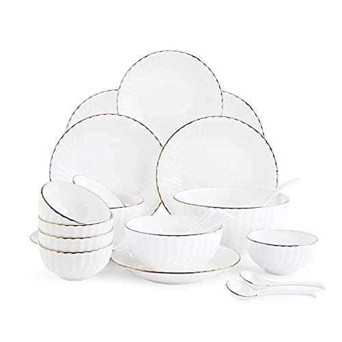 CCAN Juego de vajilla de cerámica con 20 Piezas, Cuenco/Plato/Cuchara | Juegos de vajilla de Porcelana China, Juego de combinación de Porcelana Blanco, Blanco Interesting Life