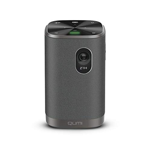VIVITEK Qumi Z1H, proiettore compatto, proiettore combinato con altoparlanti Bluetooth, proiettore LED, mirroring wireless WLAN, batteria integrata, 300 lumen, 1280x720 pixel, 100' di diagonale, HDMI