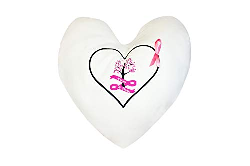 Cojín Mujer terapéutico Artesanal para Regalo Forma de corazón. Motivos cáncer de Mama. 35x35 cm.