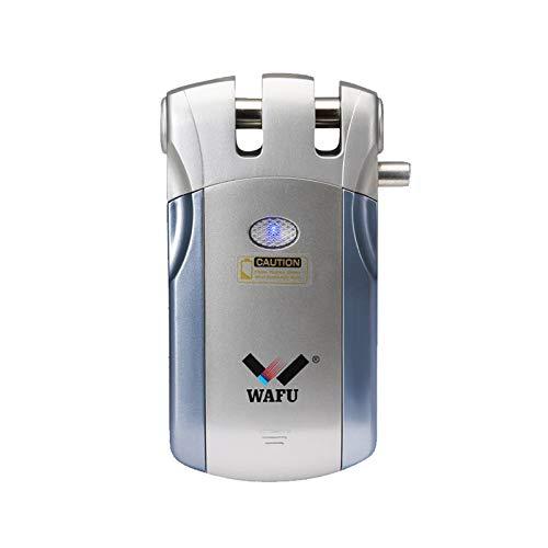 WAFU WF-018 Cerradura Inalámbrica Inteligente Cerradura Control Remoto Cerradura Invisible con 4 Control Remotos, Azul + Plata