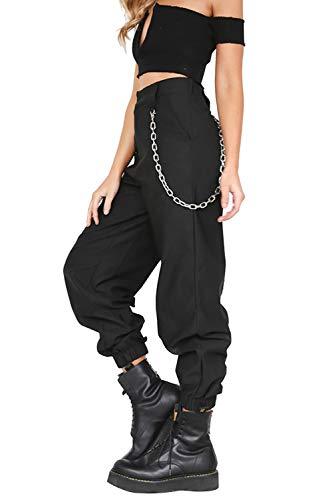 Pantalon con Cadena y Bolsillos Mujer Retro Boyfriend Pantalone Chandal Cargo Baggy Hip Hop Danza Harem Pants Leggins Deporte Cintura Alta Sólido Casual Trousers Verano Pantalones Punk Rock Streetwear