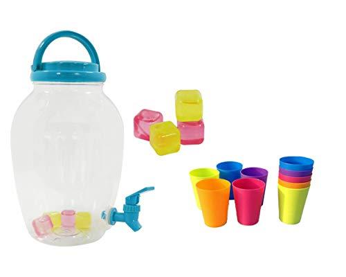 RHP GETRÄNKEKANISTER WASSERTANK mit Hahn incl. 8 Becher Getränkebehälter Party Wasserkanister: Fässchen, Auslaufhahn, Ständer, 4,4 Liter, blau/transparent