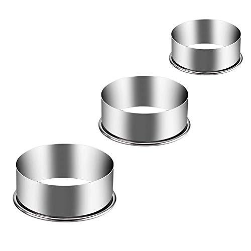 Eokeanon 3 piezas de Moldes de anillo para cocina, cortador de galletas redondo, Juego de cortadores de masa para pasteles de pastelería de gran tamaño Juego de moldes de metal para hornear pasteles redondos - 6 pulgadas, 5 pulgadas, 4 pulgadas