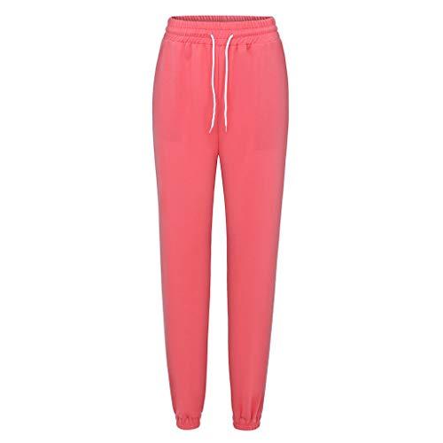 Watopi Damen Sport Sweatshose beiläufiger Reiner Farben Taschen Verband trägt lose Lange Hosen zur Schau Trainingshose