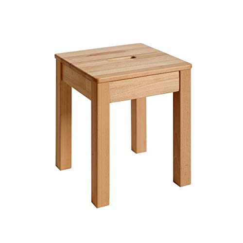 Krokwood 1 x Esszimmer Stuhl mit Eingriff Massivholz Buche FSC 100% Tomas 35x35x45 cm Hocker