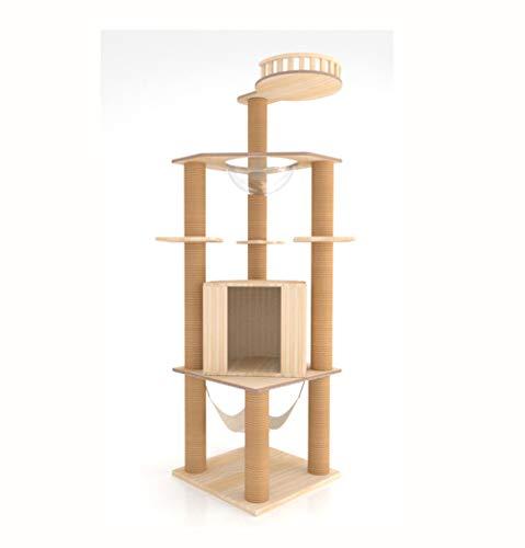 GBY Holz-Katzenklettergerüst groß Katzenbaum Katzenhöhle Katzenhöhle Katzennest Katzenhaus Klettergerüst für den Innenbereich 164 x 48 x 48 cm