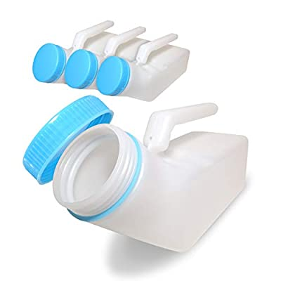 Glow in The Dark - Spill Proof Urinals for Men 1000ml-Pack of 4, Screw Cap Plastic Male Urinal, Portable Urinal, Pee Bottles for Men, Urine Collection for Incontinence, Elderly and Travel Bottle